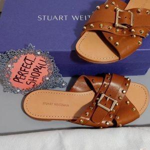 Stuart Weitzman 7 leather sandals studded tan gold
